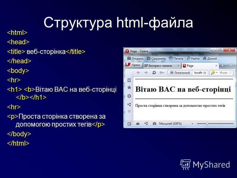 Структура html-файла веб-сторінка Вітаю ВАС на веб-сторінці Проста сторінка створена за допомогою простих тегів