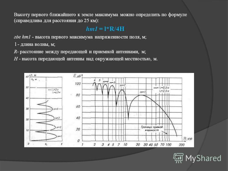 Высоту первого ближайшего к земле максимума можно определить по формуле (справедлива для расстояния до 25 км): hm1 = l*R/4H где hm1 - высота первого максимума напряженности поля, м; l - длина волны, м; R- расстояние между передающей и приемной антенн