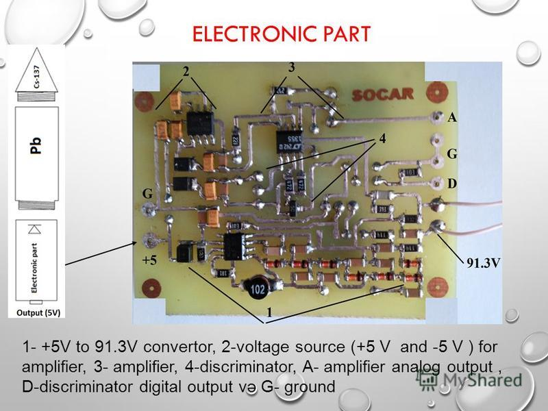 ELECTRONIC PART 1- +5V to 91.3V convertor, 2-voltage source (+5 V and -5 V ) for amplifier, 3- amplifier, 4-discriminator, A- amplifier analog output, D-discriminator digital output və G- ground