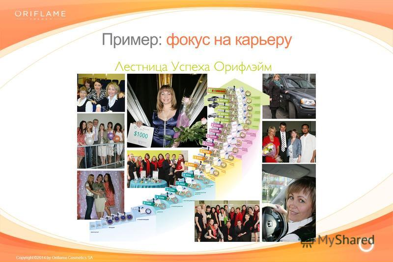 Copyright ©2014 by Oriflame Cosmetics SA Пример: фокус на карьеру