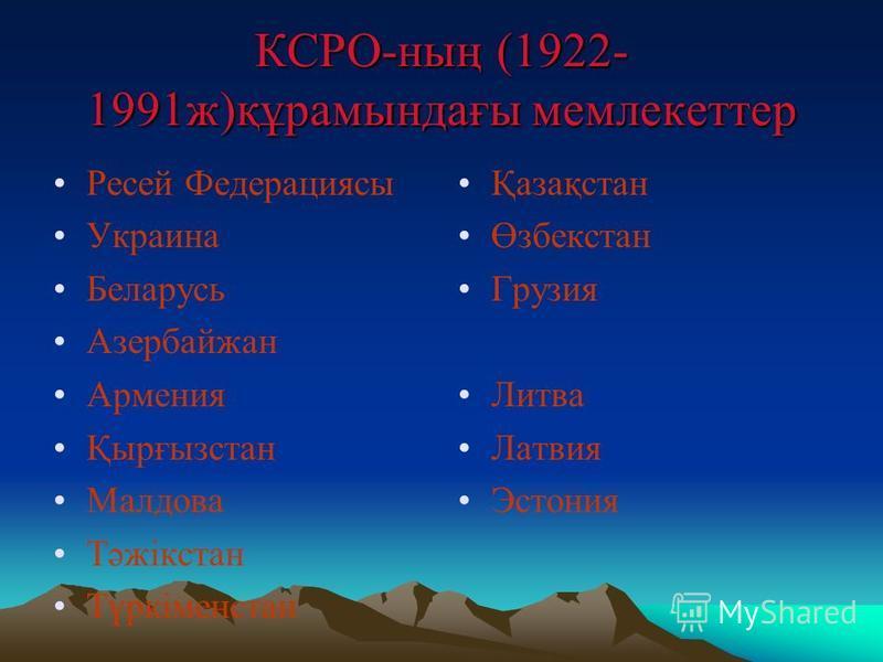 КСРО-ның (1922- 1991ж)құрамындағы мемлекеттер Ресей Федерациясы Украина Беларусь Азербайжан Армения Қырғызстан Малдова Тәжікстан Түркіменстан Қазақстан Өзбекстан Грузия Литва Латвия Эстония