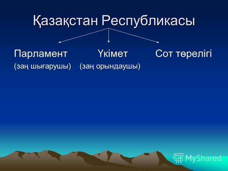 Қазақстан Республикасы Парламент Үкімет Сот төрелігі (заң шығарушы) (заң орындаушы)