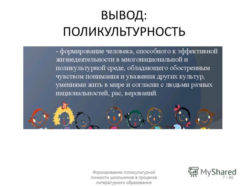 ВЫВОД: ПОЛИКУЛЬТУРНОСТЬ Формирование поликультурной личности школьников в процессе литературного образования 7 / 40