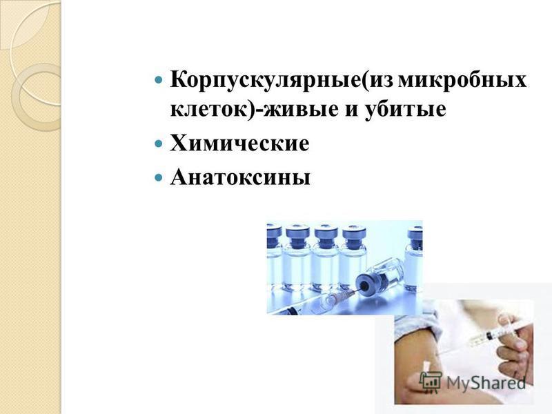 Корпускулярные(из микробных клеток)-живые и убитые Химические Анатоксины