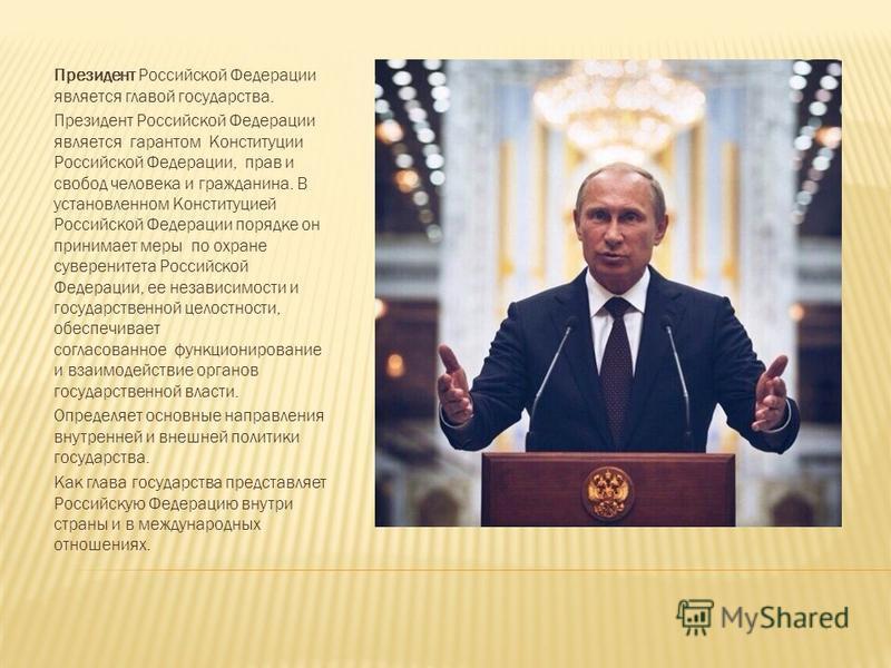 Президент Российской Федерации является главой государства. Президент Российской Федерации является гарантом Конституции Российской Федерации, прав и свобод человека и гражданина. В установленном Конституцией Российской Федерации порядке он принимает
