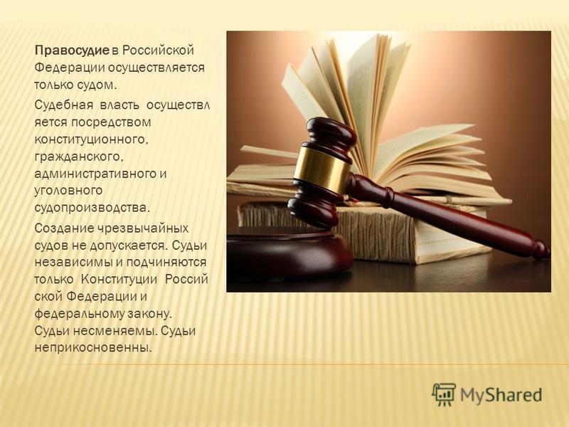 Правосудие в Российской Федерации осуществляется только судом. Судебная власть осуществляется посредством конституционного, гражданского, административного и уголовного судопроизводства. Создание чрезвычайных судов не допускается. Судьи независимы и