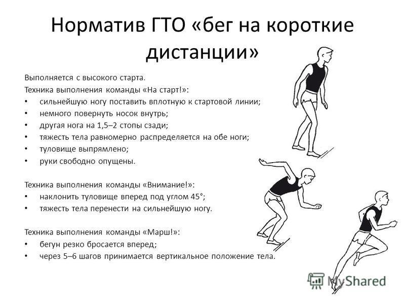 Норматив ГТО «бег на короткие дистанции» Выполняется с высокого старта. Техника выполнения команды «На старт!»: сильнейшую ногу поставить вплотную к стартовой линии; немного повернуть носок внутрь; другая нога на 1,5–2 стопы сзади; тяжесть тела равно