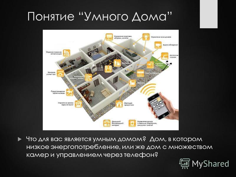 Понятие Умного Дома Что для вас является умным домом? Дом, в котором низкое энергопотребление, или же дом с множеством камер и управлением через телефон?