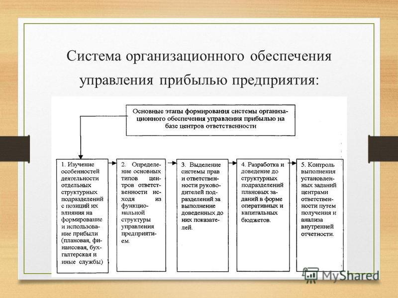 Система организационного обеспечения управления прибылью предприятия: