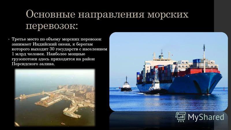 Основные направления морских перевозок: Третье место по объему морских перевозок занимает Индийский океан, к берегам которого выходит 30 государств с населением 1 млрд человек. Наиболее мощные грузопотоки здесь приходятся на район Персидского залива.
