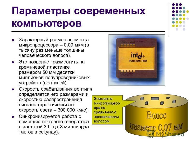 Параметры современных компьютеров Характерный размер элемента микропроцессора – 0,09 мкм (в тысячу раз меньше толщины человеческого волоса). Это позволяет разместить на кремниевой пластинке размером 50 мм десятки миллионов полупроводниковых устройств