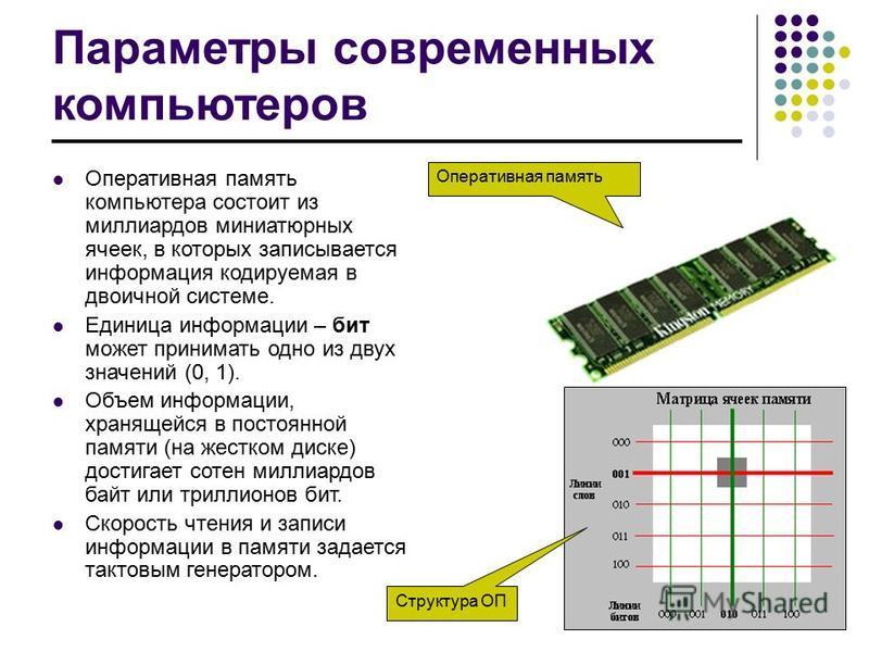 Параметры современных компьютеров Оперативная память компьютера состоит из миллиардов миниатюрных ячеек, в которых записывается информация кодируемая в двоичной системе. Единица информации – бит может принимать одно из двух значений (0, 1). Объем инф