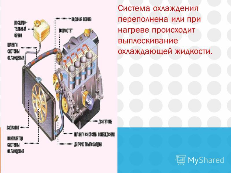 Система охлаждения переполнена или при нагреве происходит выплескивание охлаждающей жидкости.