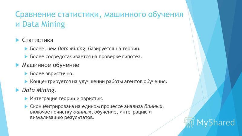 Сравнение статистики, машинного обучения и Data Mining Статистика Более, чем Data Mining, базируется на теории. Более сосредотачивается на проверке гипотез. Машинное обучение Более эвристично. Концентрируется на улучшении работы агентов обучения. Dat