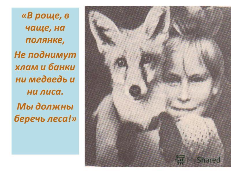 «В роще, в чаще, на полянке, Не поднимут хлам и банки ни медведь и ни лиса. Мы должны беречь леса!»