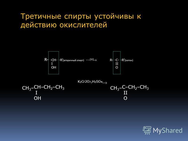 R- -CH- -R (вторичный спирт) –– [O] R--C--R' (кетон) I OH II O CH 3 – CH–CH 2 –CH 3 I OH K 2 Cr2O 7,H 2 SO 4 CH 3 – C–CH 2 –CH 3 II O Третичные спирты устойчивы к действию окислителей.