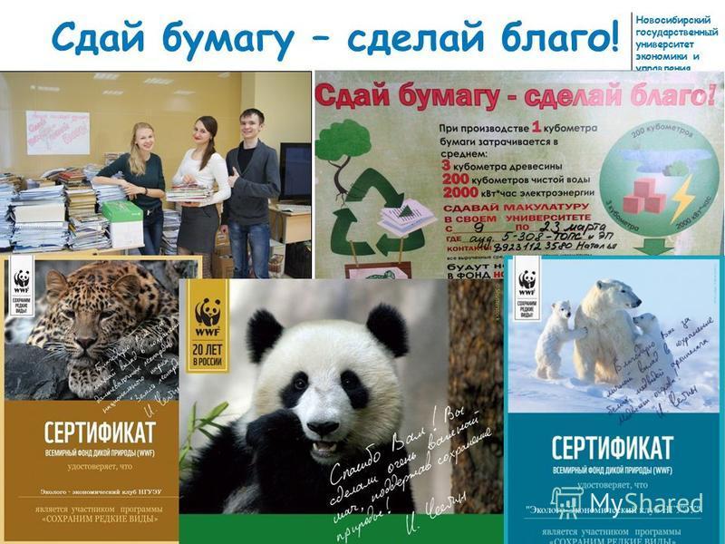 Новосибирский государственный университет экономики и управления Сдай бумагу – сделай благо!