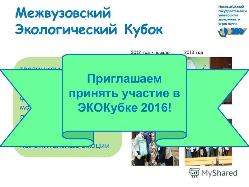 Новосибирский государственный университет экономики и управления Межвузовский Экологический Кубок традиционное ежегодное мероприятие, целью которого является формирование нового молодого профессионального сообщества, обмен опытом, общение и положител