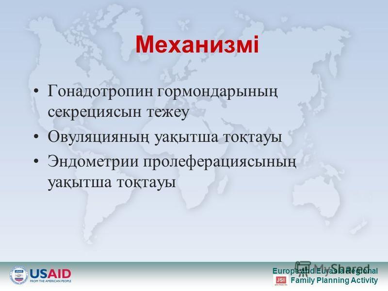 Europe and Eurasia Regional Family Planning Activity Механизмі Гонадотропин гормондарының секрециясын тежеу Овуляцияның уақытша тоқтауы Эндометрии пролеферациясының уақытша тоқтауы