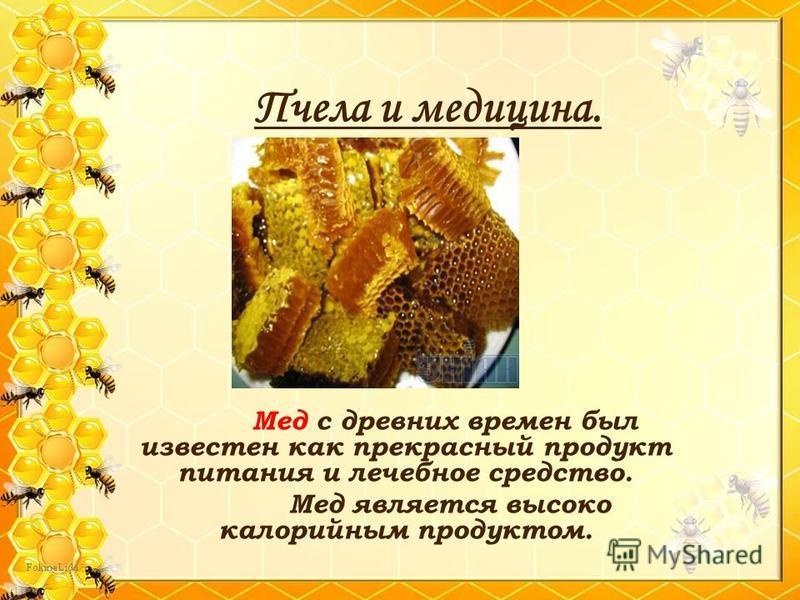 Пчела и медицина. Мед с древних времен был известен как прекрасный продукт питания и лечебное средство. Мед является высоко калорийным продуктом.