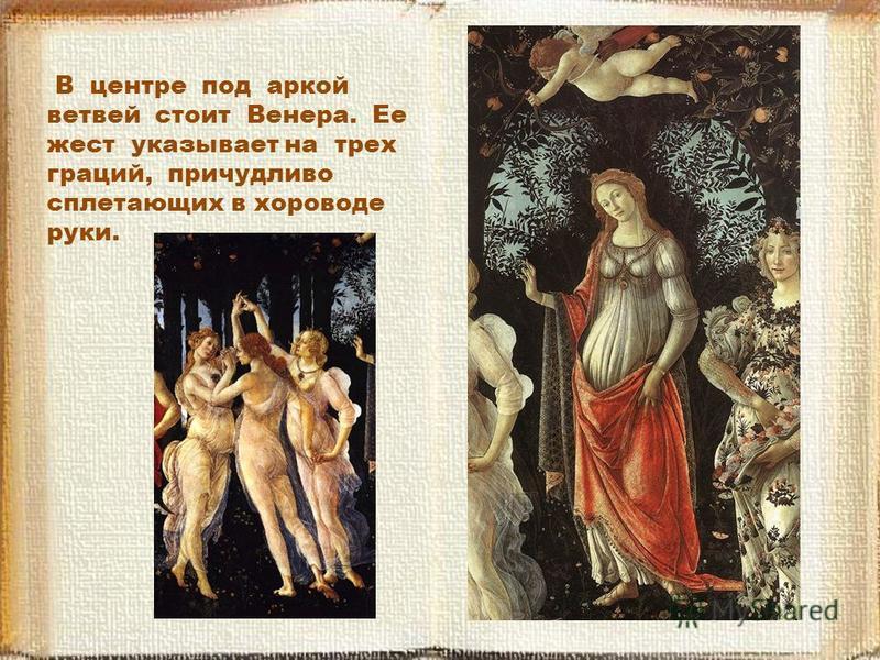 В центре под аркой ветвей стоит Венера. Ее жест указывает на трех граций, причудливо сплетающих в хороводе руки.