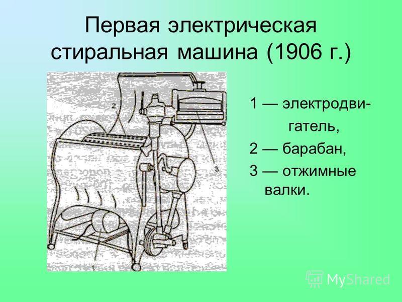 Первая электрическая стиральная машина (1906 г.) 1 электродвигатель, 2 барабан, 3 отжимные валки.