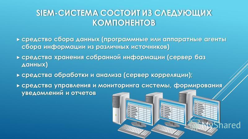 SIEM-СИСТЕМА СОСТОИТ ИЗ СЛЕДУЮЩИХ КОМПОНЕНТОВ средство сбора данных (программные или аппаратные агенты сбора информации из различных источников) средство сбора данных (программные или аппаратные агенты сбора информации из различных источников) средст