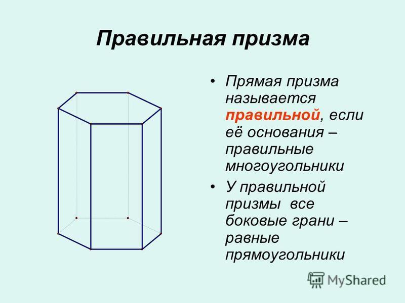 Правильная призма Прямая призма называется правильной, если её основания – правильные многоугольники У правильной призмы все боковые грани – равные прямоугольники