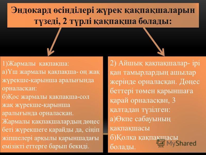 1)Жармалы қақпақша: а)Үш жармалы қақпақша- оң жақ жүрекшее-қарынша аралығында орналасқан: б)Қос жармалы қақпақша-сол жақ жүрекшее-қарынша аралығында орналасқан. Жармалы қақпақшалардың дөңес беті жүрекшееге қарайды да, сіңіп жіпшеелері арқылы қарыншад