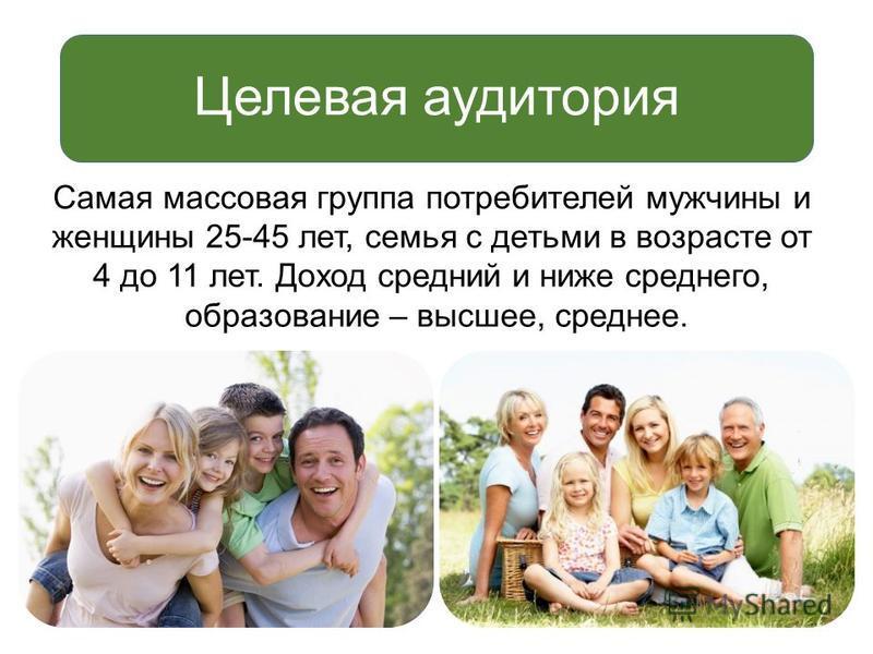 Самая массовая группа потребителей мужчины и женщины 25-45 лет, семья с детьми в возрасте от 4 до 11 лет. Доход средний и ниже среднего, образование – высшее, среднее. Целевая аудитория