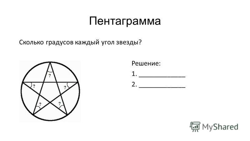 Пентаграмма Сколько градусов каждый угол звезды? Решение: 1. _____________ 2. _____________