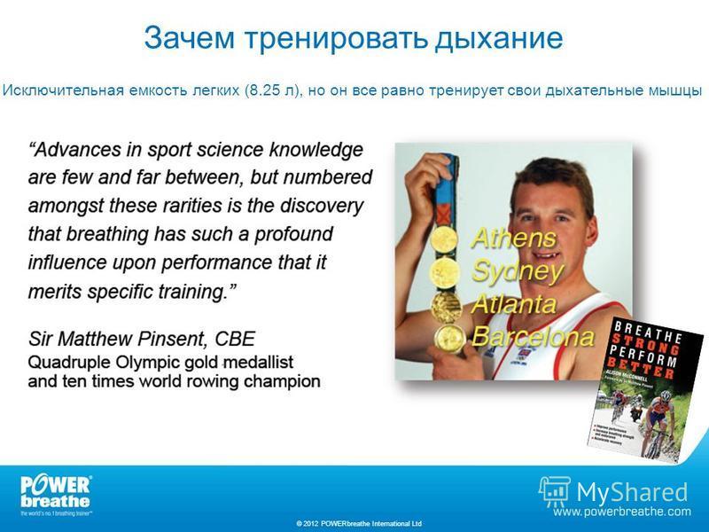 Зачем тренировать дыхание Исключительная емкость легких (8.25 л), но он все равно тренирует свои дыхательные мышцы © 2012 POWERbreathe International Ltd