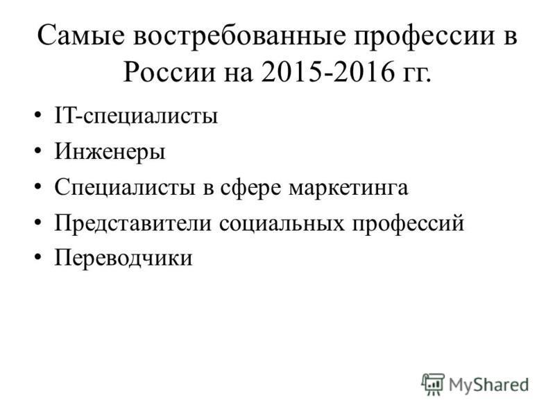 Самые востребованные профессии в России на 2015-2016 гг. IT-специалисты Инженеры Специалисты в сфере маркетинга Представители социальных профессий Переводчики