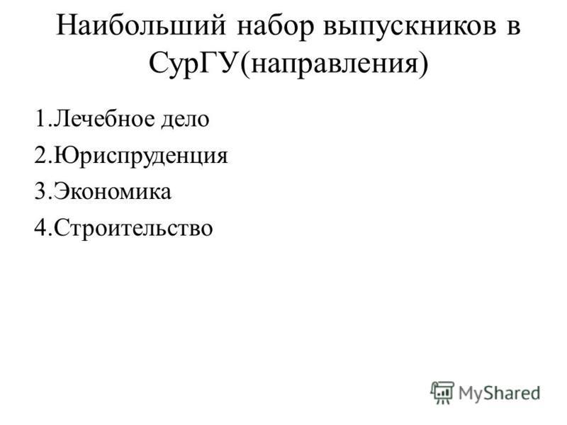 Наибольший набор выпускников в СурГУ(направления) 1. Лечебное дело 2. Юриспруденция 3. Экономика 4.Строительство