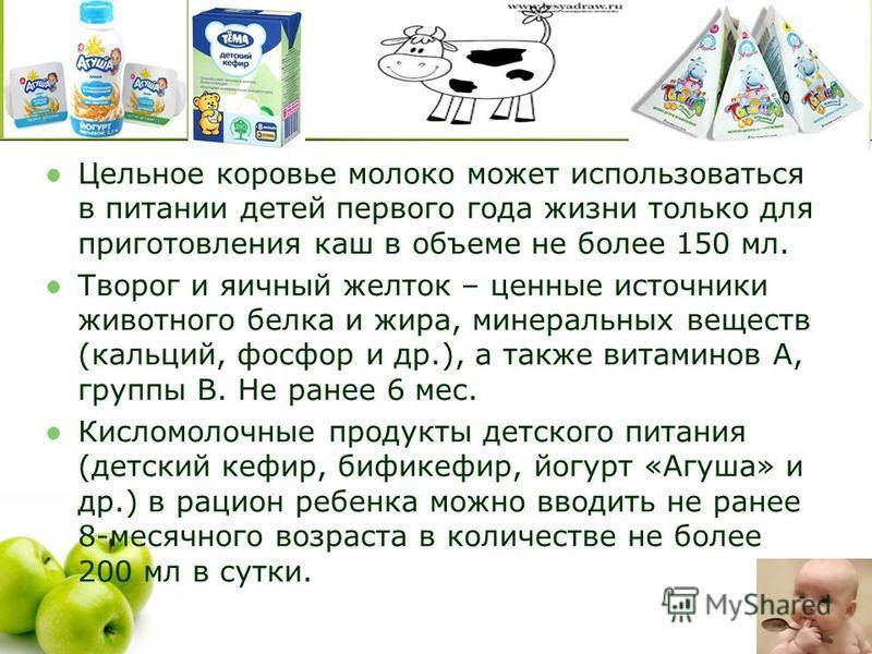 Цельное коровье молоко может использоваться в питании детей первого года жизни только для приготовления каш в объеме не более 150 мл. Творог и яичный желток – ценные источники животного белка и жира, минеральных веществ (кальций, фосфор и др.), а так
