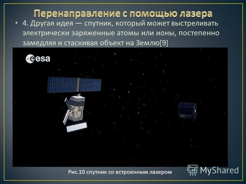 4. Другая идея спутник, который может выстреливать электрически заряженные атомы или ионы, постепенно замедляя и стаскивая объект на Землю [9] Рис.10 спутник со встроенным лазером