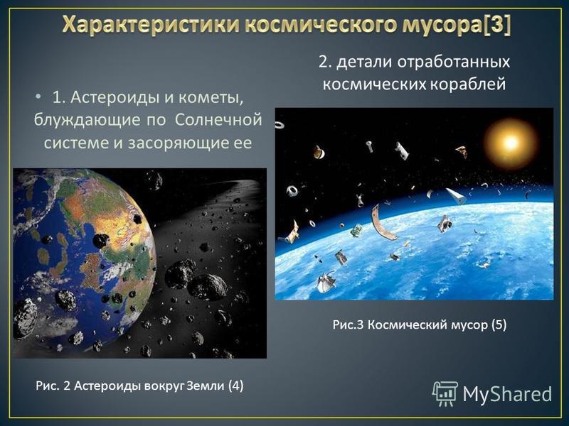 1. Астероиды и кометы, блуждающие по Солнечной системе и засоряющие ее Рис. 2 Астероиды вокруг Земли (4) 2. детали отработанных космических кораблей Рис.3 Космический мусор (5)
