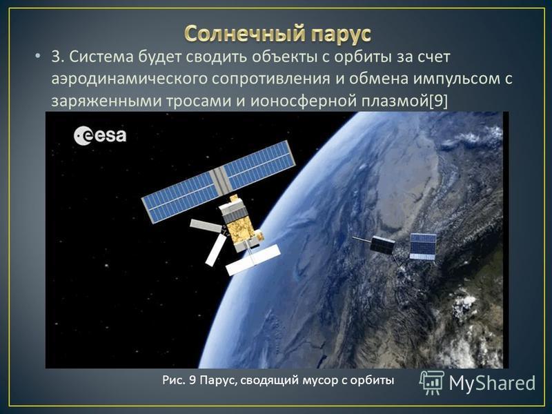 3. Система будет сводить объекты с орбиты за счет аэродинамического сопротивления и обмена импульсом с заряженными тросами и ионосферной плазмой [9] Рис. 9 Парус, сводящий мусор с орбиты