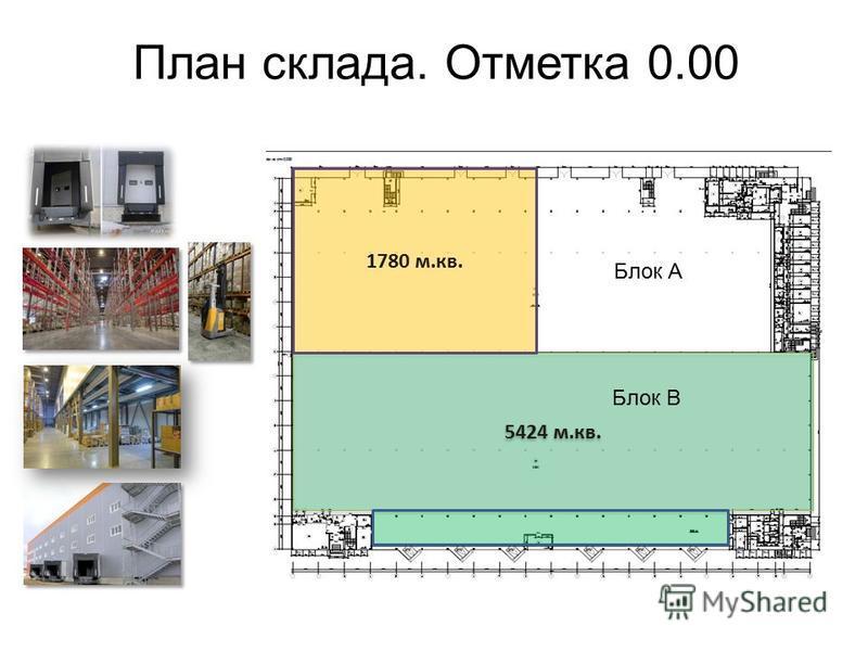 План склада. Отметка 0.00 5424 м.кв. 1780 м.кв. Блок А Блок В