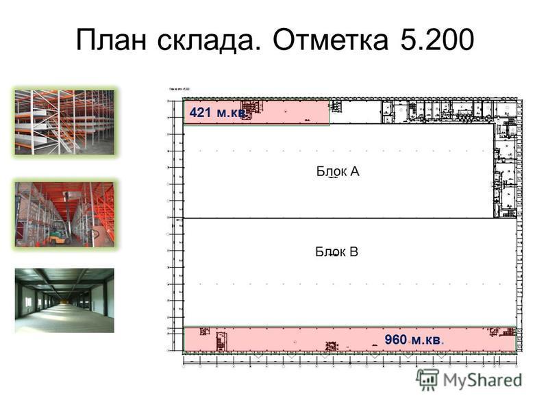 План склада. Отметка 5.200 960 м.кв. 421 м.кв. Блок А Блок В