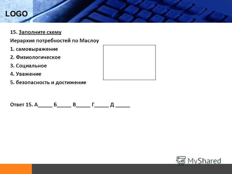 LOGO 15. Заполните схему Иерархия потребностей по Маслоу 1. самовыражение 2. Физиологическое 3. Социальное 4. Уважение 5. безопасность и достижение Ответ 15. А_____ Б_____ В_____ Г_____ Д _____