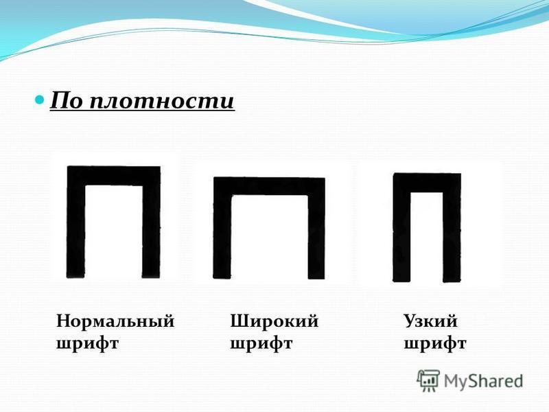 По плотности Нормальный шрифт Широкий шрифт Узкий шрифт