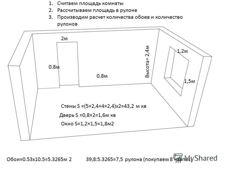 2 м 2 м 0.8 м Высота= 2,4 м 1,2 м 1,5 м 1. Считаем площадь комнаты 2. Рассчитываем площадь в рулоне 3. Производим расчет количества обоев и количество рулонов Стены S =(5×2,4+4×2,4)х 2=43,2 м кв Дверь S =0,8×2=1,6 м кв Окно S=1,2×1,5=1,8 м 2 Обои=0.5