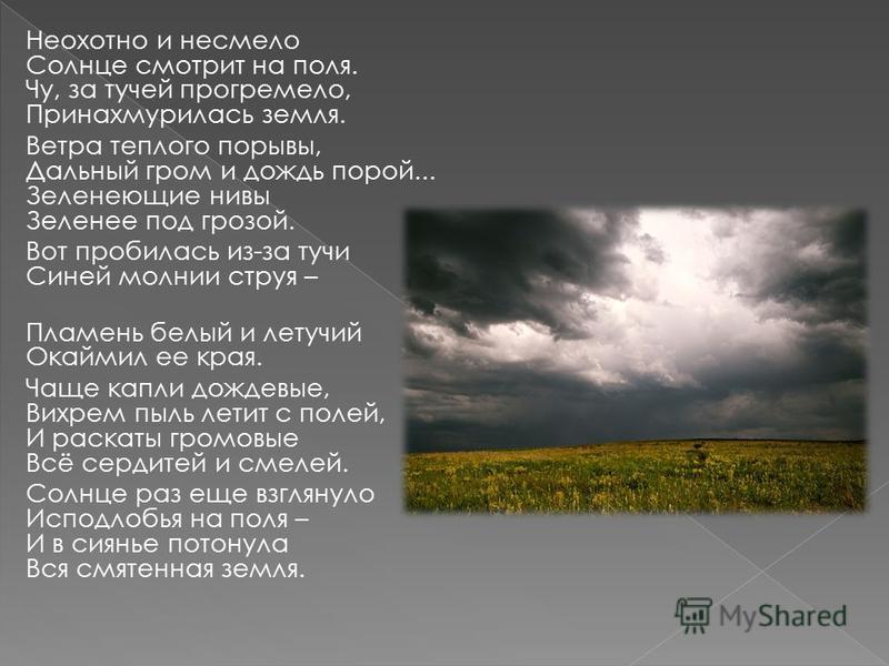 Неохотно и несмело Солнце смотрит на поля. Чу, за тучей прогремело, Принахмурилась земля. Ветра теплого порывы, Дальный гром и дождь порой... Зеленеющие нивы Зеленее под грозой. Вот пробилась из-за тучи Синей молнии струя – Пламень белый и летучий Ок