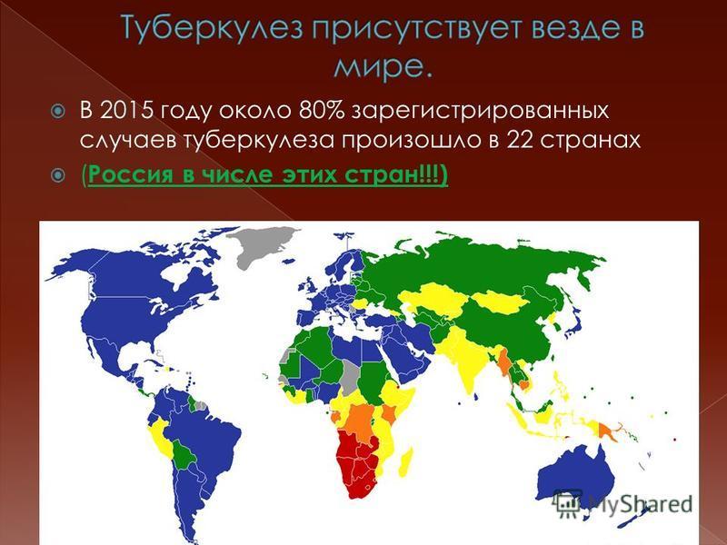 В 2015 году около 80% зарегистрированных случаев туберкулеза произошло в 22 странах ( Россия в числе этих стран!!!)