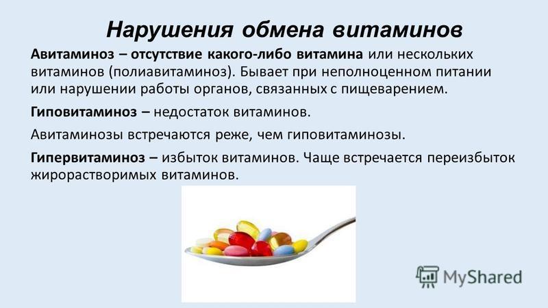 Нарушения обмена витаминов Авитаминоз – отсутствие какого-либо витамина или нескольких витаминов (поли авитаминоз). Бывает при неполноценном питании или нарушении работы органов, связанных с пищеварением. Гиповитаминоз – недостаток витаминов. Авитами