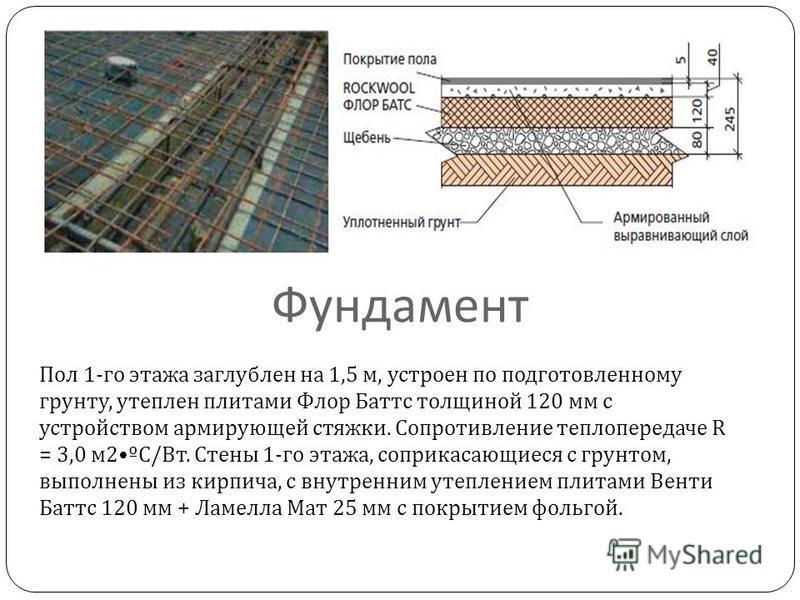 Фундамент Пол 1- го этажа заглублен на 1,5 м, устроен по подготовленному грунту, утеплен плитами Флор Баттс толщиной 120 мм с устройством армирующей стяжки. Сопротивление теплопередаче R = 3,0 м 2º С / Вт. Стены 1- го этажа, соприкасающиеся с грунтом