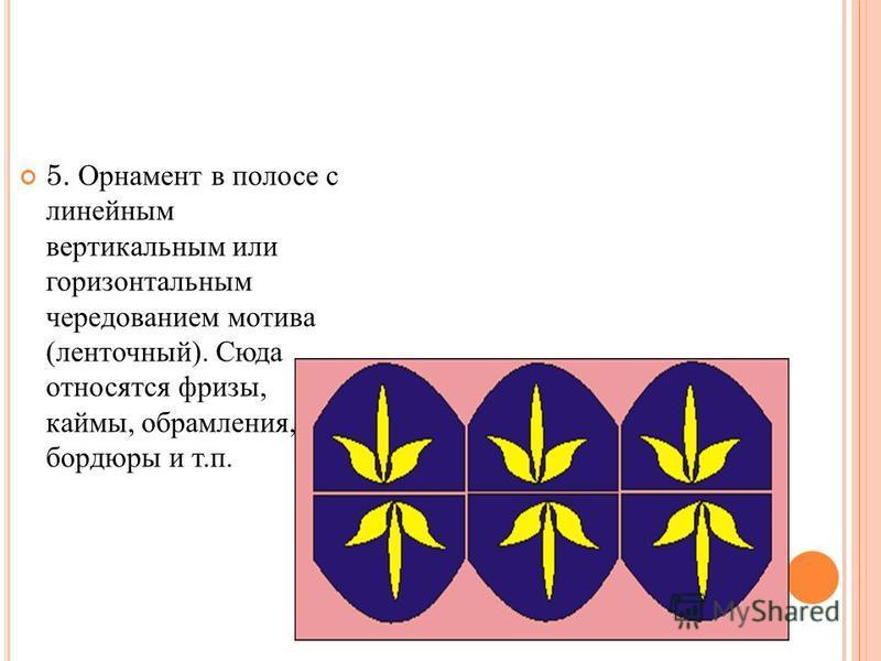 5. Орнамент в полосе с линейным вертикальным или горизонтальным чередованием мотива (ленточный). Сюда относятся фризы, каймы, обрамления, бордюры и т.п.