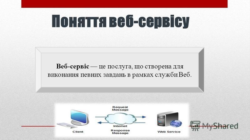 Поняття веб-сервісу Веб-сервіс це послуга, що створена для виконання певних завдань в рамках служби Веб.