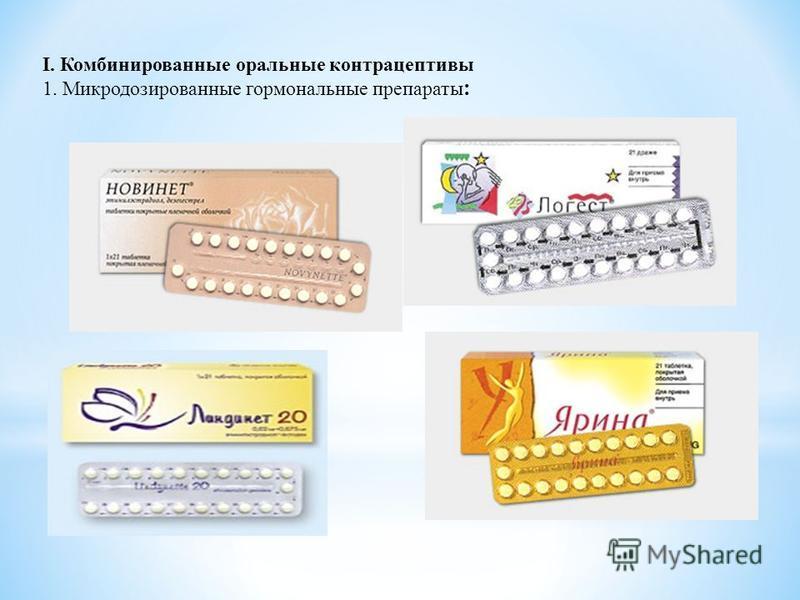 I. Комбинированные оральные контрацептивы 1. Микродозированные гормональные препараты :